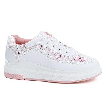 Printed Mesh Breathable Athletic Shoes - PINK 37