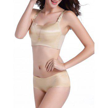 Seamless Mesh Panel Bustier Bra Set - 80B 80B
