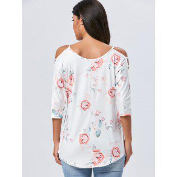 Spaghetti Strap Floral Print Cut Out T-shirt - WHITE WHITE