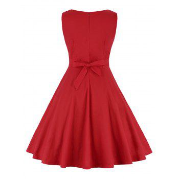 Polka Dot A Line Robe taille haute - Rouge M