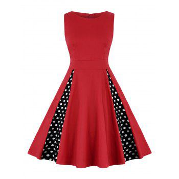 Polka Dot A Line High Waist Dress - RED L