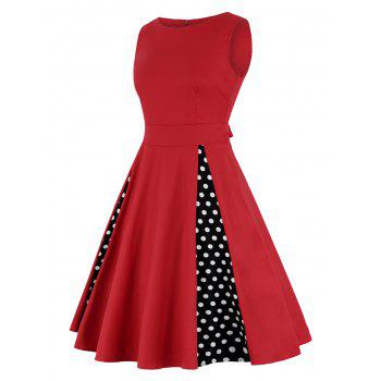 Polka Dot A Line Robe taille haute - Rouge XL