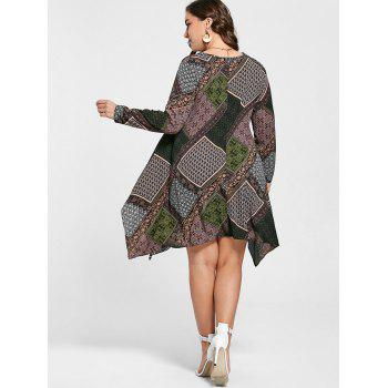 Geometric Handkerchief Plus Size Dress - multicolorCOLOR 3XL