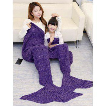 Knitted Mother and Daughter Mermaid Tail Blanket - PURPLE 180*145CM