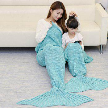 Knitted Mother and Daughter Mermaid Tail Blanket - GREEN GREEN