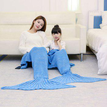Knitted Mother and Daughter Mermaid Tail Blanket - ICE BLUE 180*145CM