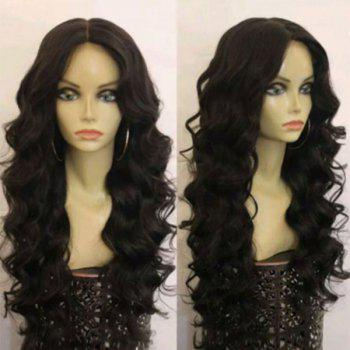 Middle Part Long Fluffy Loose Wave Synthetic Wig - BLACK BLACK