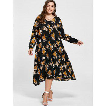 Plus Size Handkerchief Floral Print Dress - 3XL 3XL