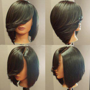 Deep Side Upward Part Straight Short Inverted Bob Synthetic Wig - BLACK BLACK