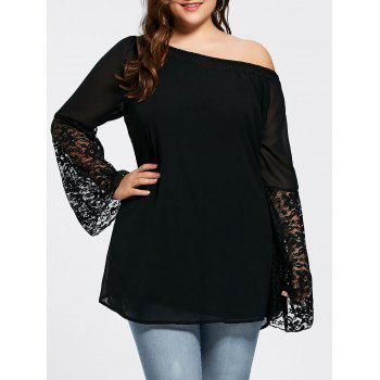 Lace Insert Bell Sleeve Plus Size Tunic Top