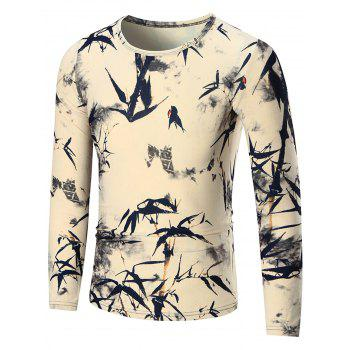 Bamboo Printed Slim Long Sleeve T-shirt - COLORMIX XL
