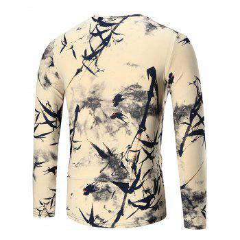 Bamboo Printed Slim Long Sleeve T-shirt - 2XL 2XL
