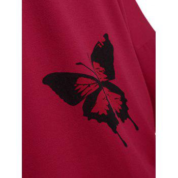 Plus Size Butterfly Skew Neck Drop Shoulder Top - 3XL 3XL