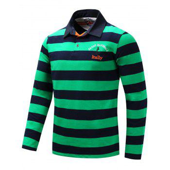 Long Sleeve Stripe Anchor Embroidered T-shirt - XL XL