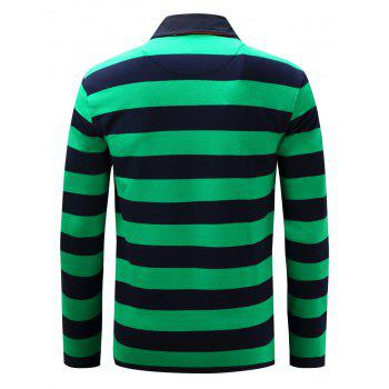 Long Sleeve Stripe Anchor Embroidered T-shirt - M M