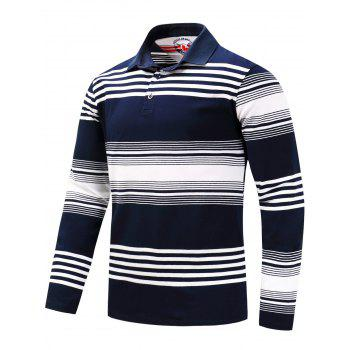 Polo Collar Stripe Long Sleeve T-shirt - BLUE/WHITE BLUE/WHITE
