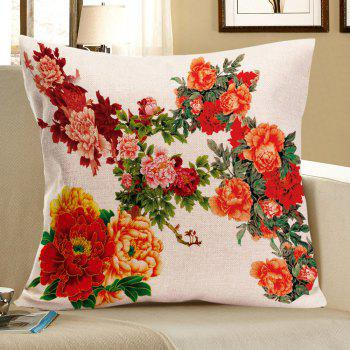 Peony Pattern Decorative Linen Pillow Case - RED RED