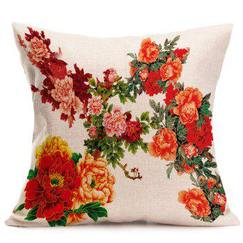 Peony Pattern Decorative Linen Pillow Case - RED W18 INCH * L18 INCH