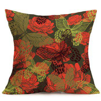 Butterfly Flowers Printed Linen Decorative Pillow Case - W18 INCH * L18 INCH W18 INCH * L18 INCH