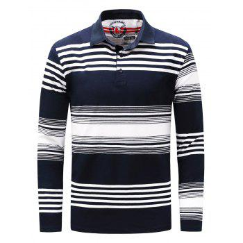 Polo Collar Stripe Long Sleeve T-shirt - BLUE AND WHITE 3XL