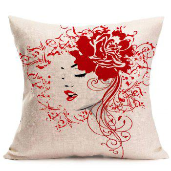 Flower Girl Printed Linen Decorative Pillow Case - RED W18 INCH * L18 INCH