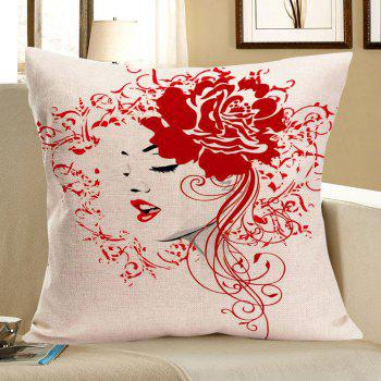 Flower Girl Printed Linen Decorative Pillow Case - RED RED