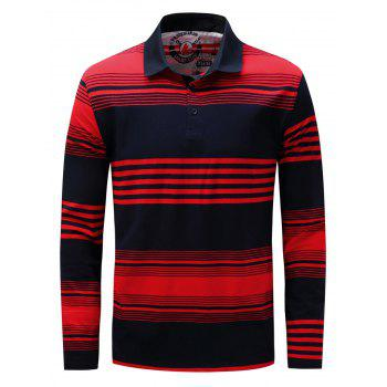 Polo Collar Stripe Long Sleeve T-shirt - BLUE AND RED 3XL