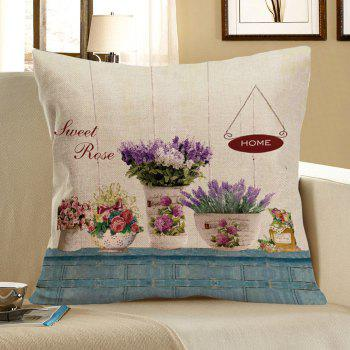 Potting Pattern Linen Square Pillow Case - COLORFUL W18 INCH * L18 INCH