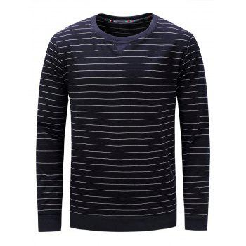 Crew Neck Long Sleeve Stripe Sweatshirt - CADETBLUE M