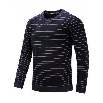 Crew Neck Long Sleeve Stripe Sweatshirt - M M