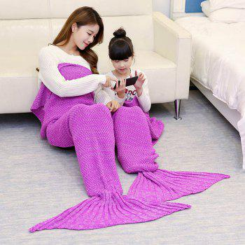 Knitted Mother and Daughter Mermaid Tail Blanket - ROSE MADDER 180*145CM