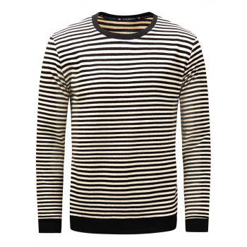 Long Sleeve Stripe Pullover Sweatshirt - BLACK M