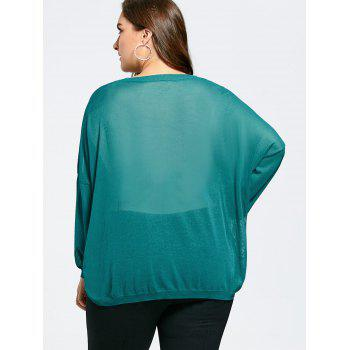 Plus Size Loose Drop Shoulder Knit Sweater - MALACHITE GREEN MALACHITE GREEN