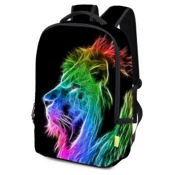 Rainbow Colored Lion Painted Backpack - BLACK