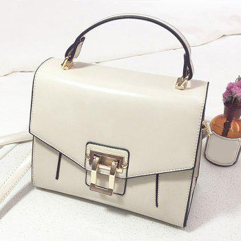Faux Leather Rivets Metal Embellished Handbag -  OFF WHITE