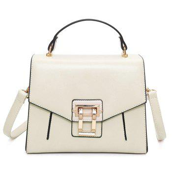 Faux Leather Rivets Metal Embellished Handbag - OFF-WHITE OFF WHITE