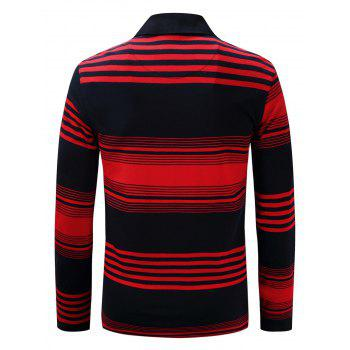 Polo Collar Stripe Long Sleeve T-shirt - L L