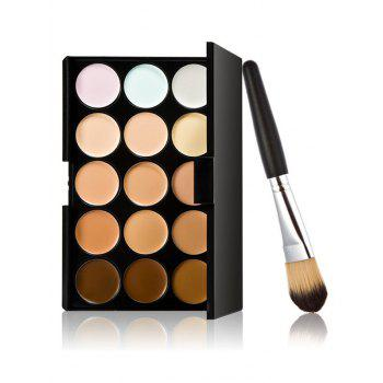15 Colours Cream Concealer Palette and Foundation Brush - MULTI multicolor