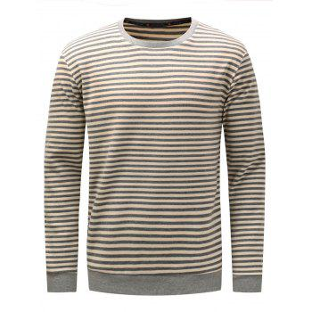 Long Sleeve Stripe Pullover Sweatshirt - GRAY L