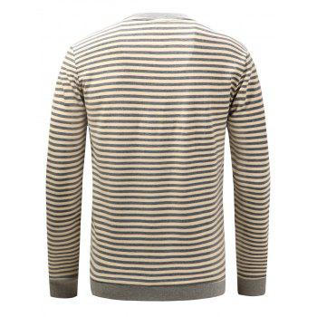 Long Sleeve Stripe Pullover Sweatshirt - L L