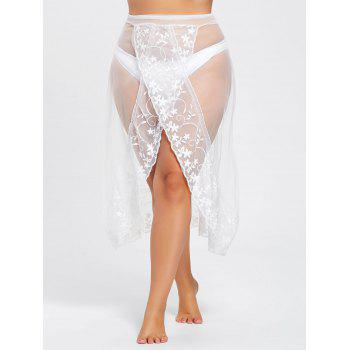 Plus Size Mesh Sheer Split Beach Skirt