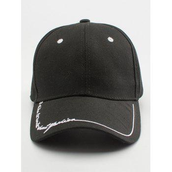 Letters Line Embroidered Baseball Cap -  BLACK