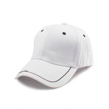 Letters Line Embroidered Baseball Cap - WHITE WHITE