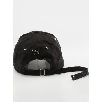 Letter Embellished Long Tail Baseball Cap - BLACK