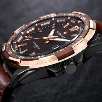 NAVIFORCE 9056 Faux Leather Luminous Date Watch -  BROWN LEATHER BAND/BLACK DIAL