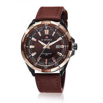 NAVIFORCE 9056 Faux Leather Luminous Date Watch - BROWN LEATHER BAND+BLACK DIAL BROWN LEATHER BAND/BLACK DIAL