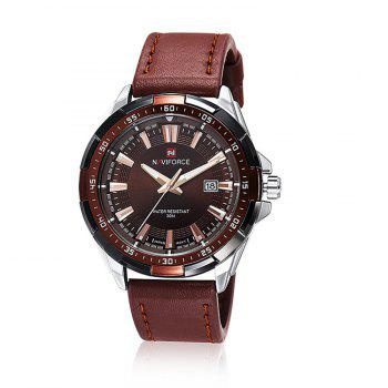 NAVIFORCE 9056 Faux Leather Luminous Date Watch
