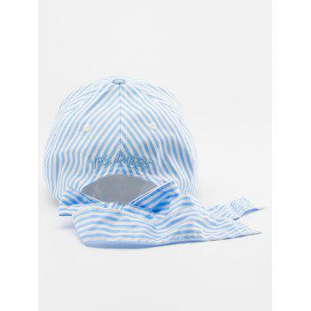 Bowknot Long Tail Embellished Stripe Baseball Cap - Bleu Rosé