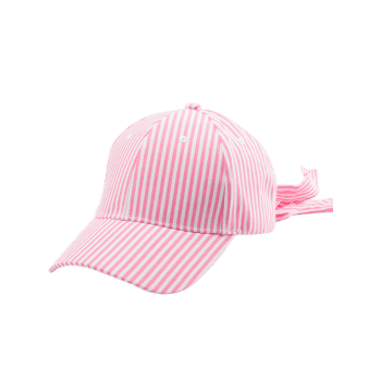 Bowknot Long Tail Embellished Stripe Baseball Cap - PINK