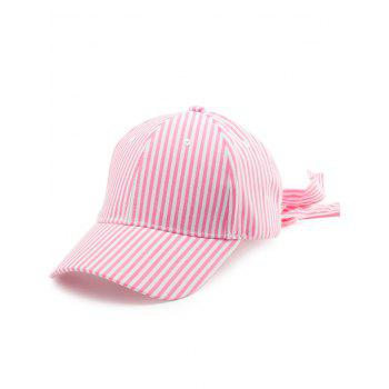 Bowknot Long Tail Embellished Stripe Baseball Cap